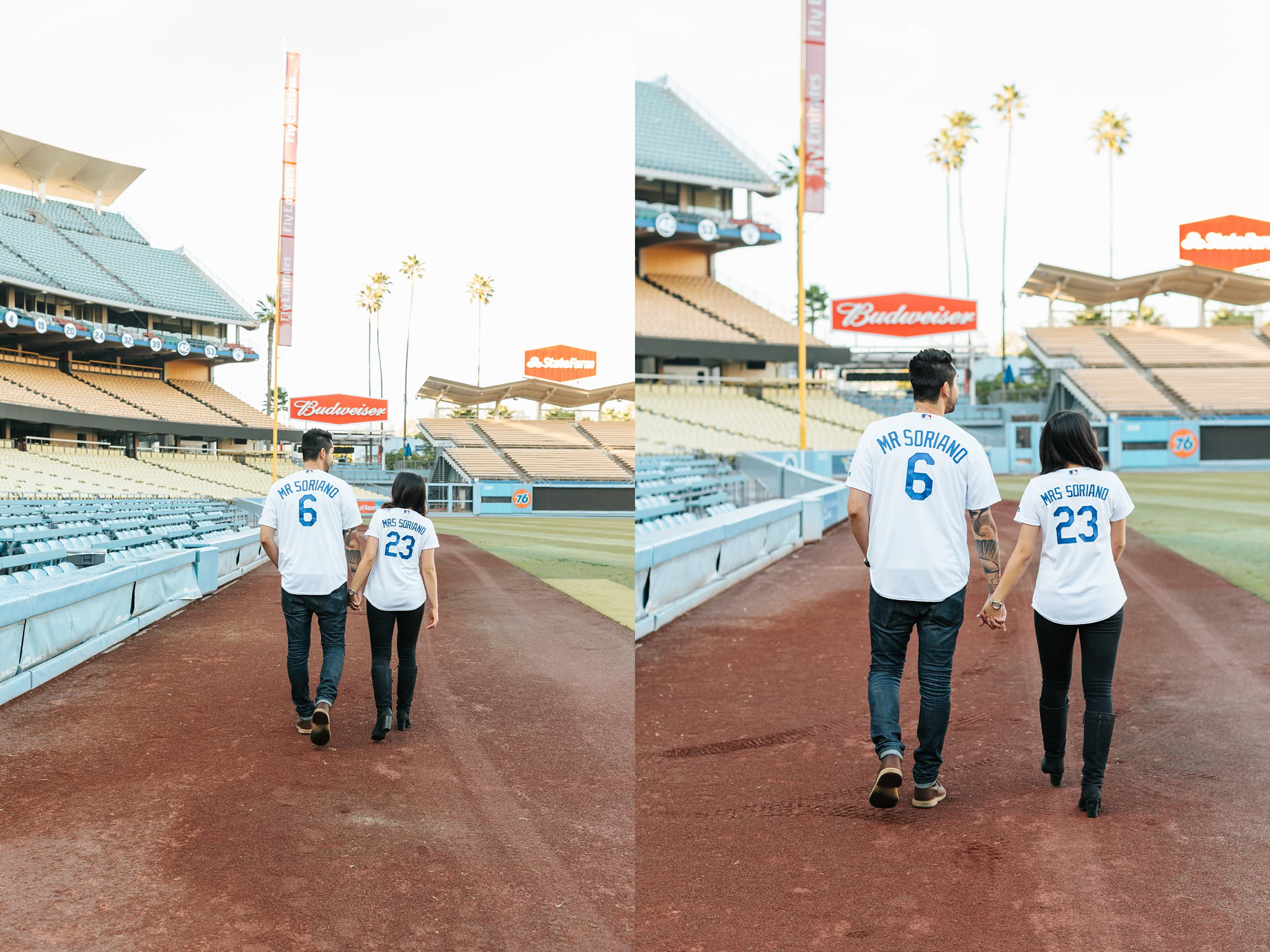 Romantic and Fun Dodger Fan Engagement Photos - Dodger Stadium - Los Angeles, CA - http://brittneyhannonphotography.com