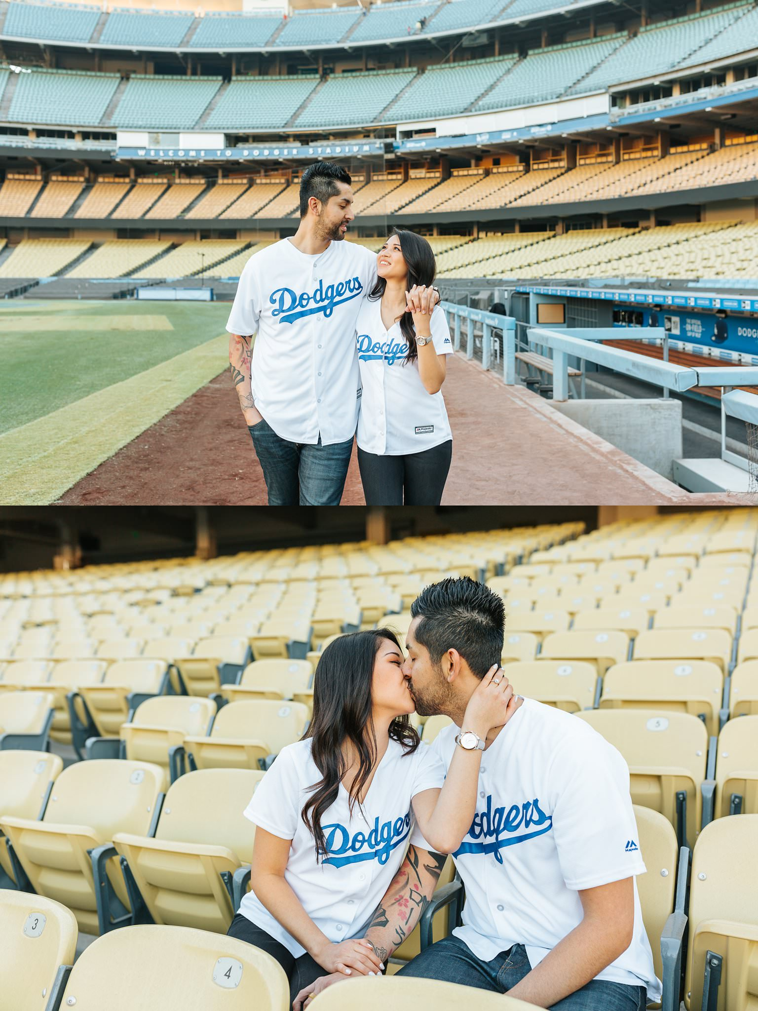Super cute engagement at Dodger Stadium - Dodger Stadium engagement photos - http://brittneyhannonphotography.com