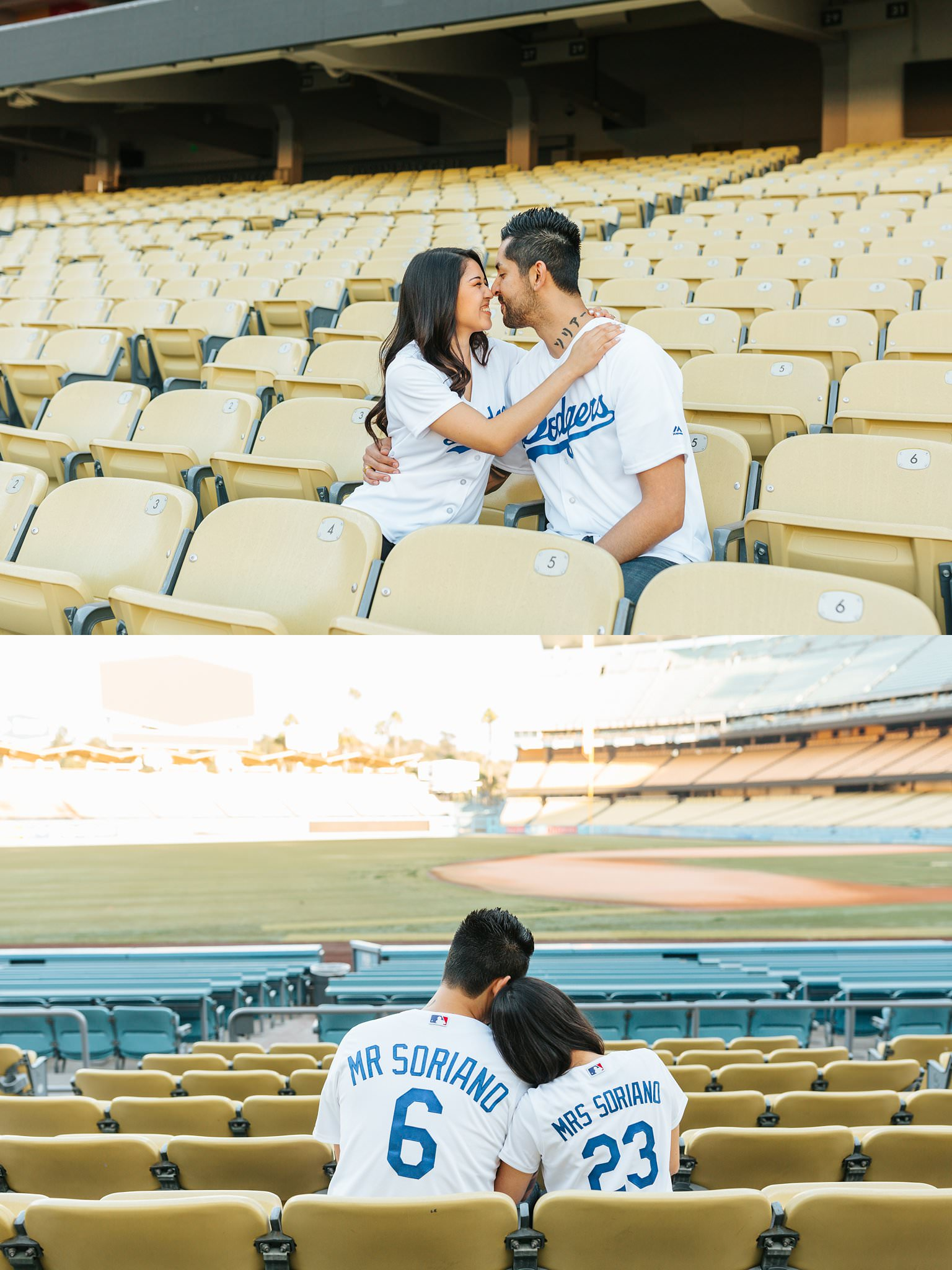 Love in the seats at Dodger Stadium - Dodger Stadium Engagement Photography - http://brittneyhannonphotography.com
