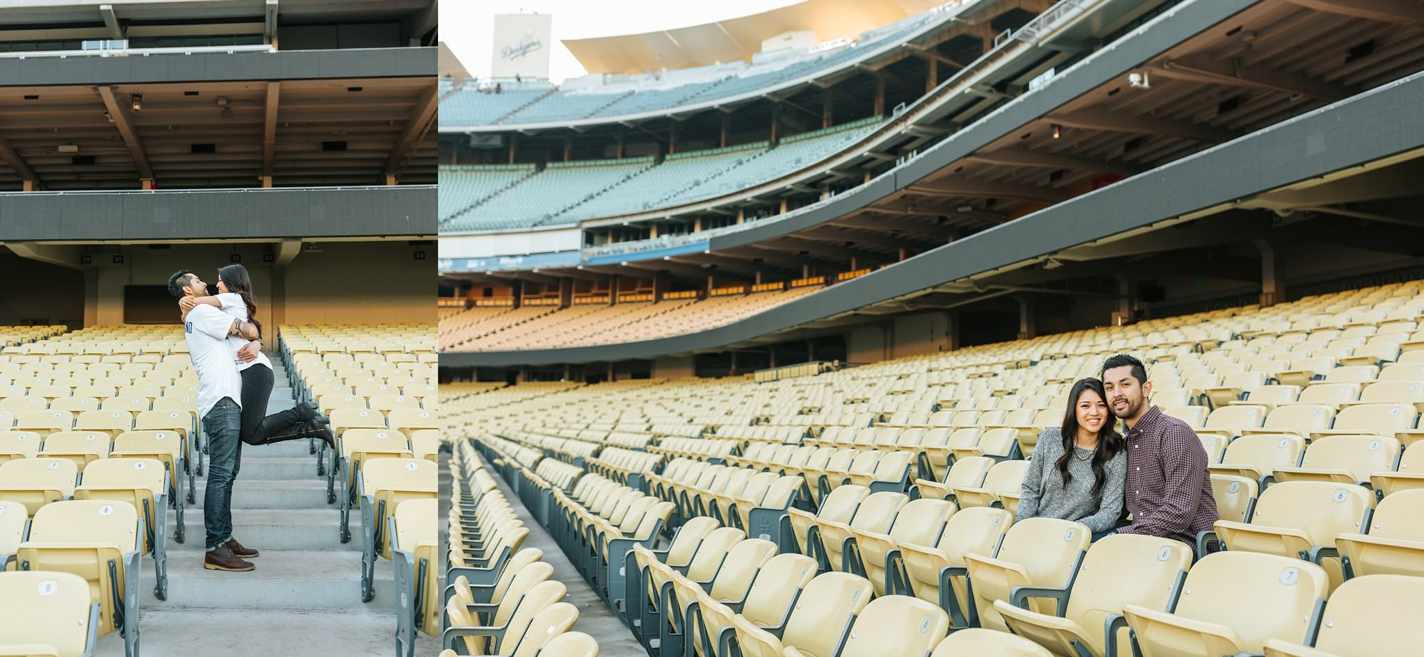 It's time for Dodger baseball - engagement photos at dodger stadium - http://brittneyhannonphotography.com
