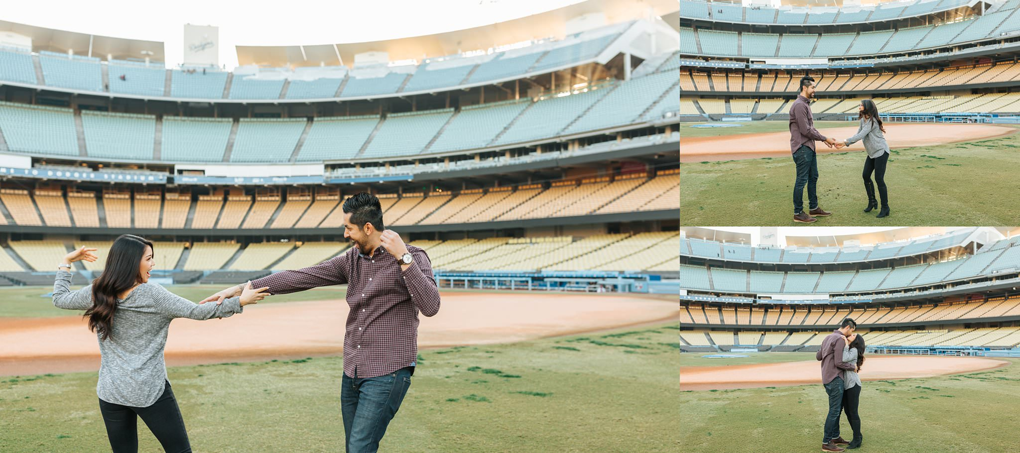 Dancing at Dodger Stadium - Cute and Fun Dodger Stadium Engagement Session - Los Angeles, CA - http://brittneyhannonphotography.com