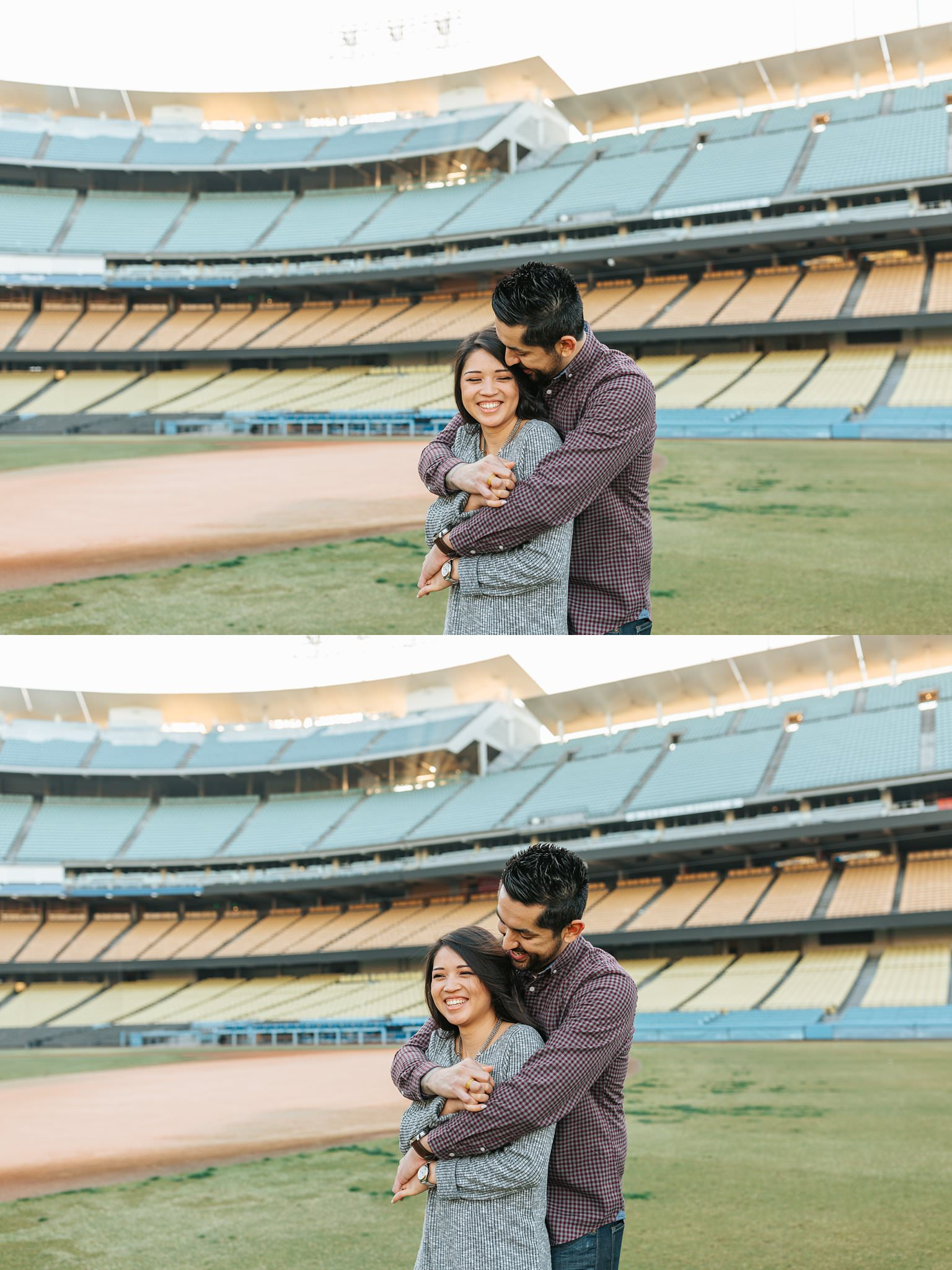 Lets go Dodgers - Dodger Stadium Engagement Session - Los Angeles Wedding Photographer- http://brittneyhannonphotography.com