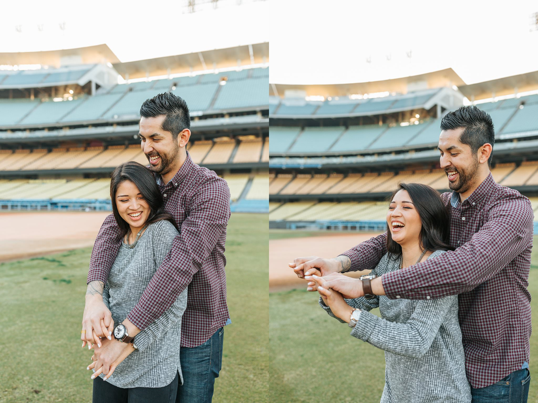 Baseball Engagement Session at Dodger Stadium in Los Angeles, CA - http://brittneyhannonphotography.com