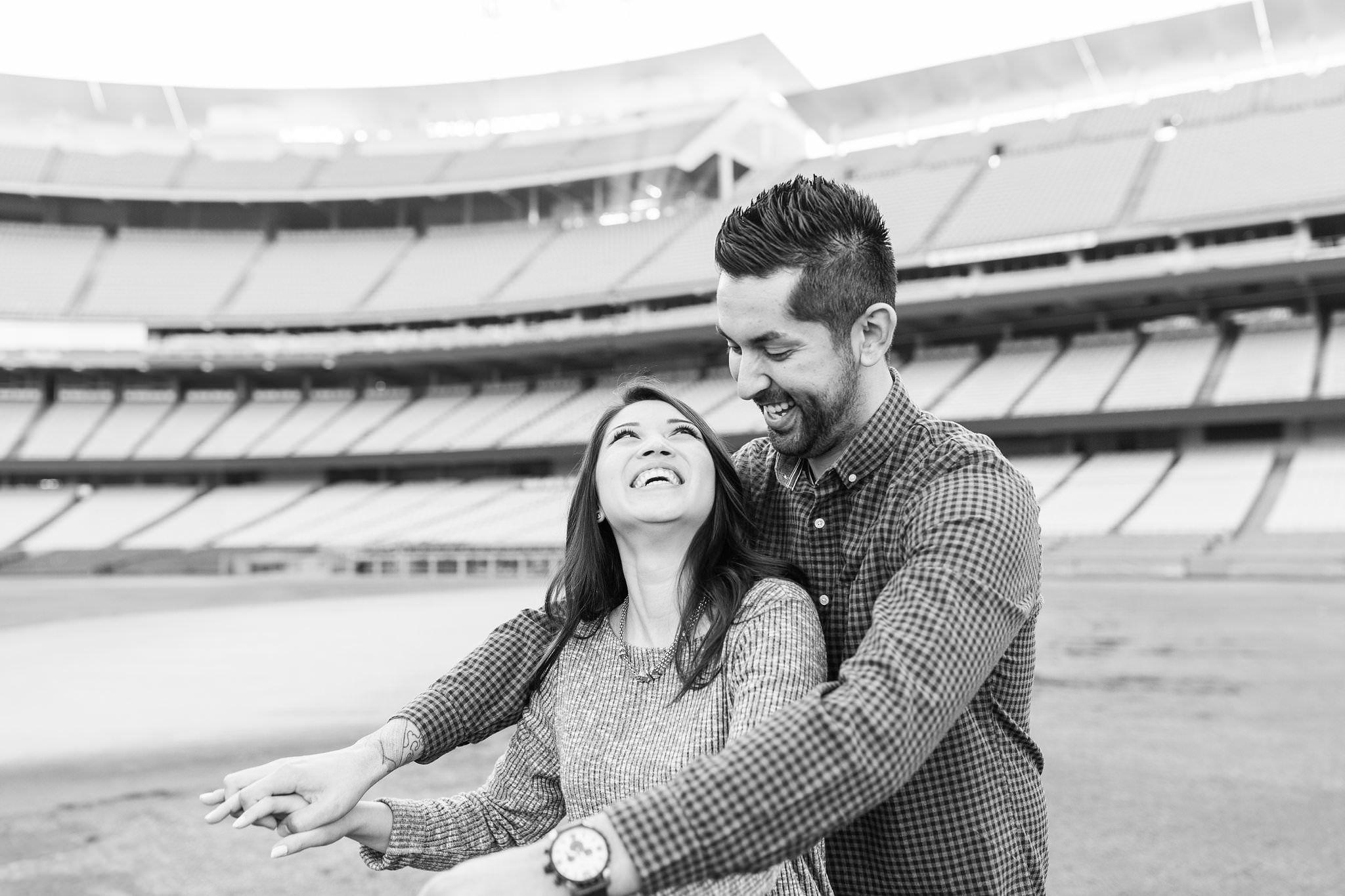 Love at the Stadium - A Dodger Stadium Engagement Session in Los Angeles, CA - http://brittneyhannonphotography.com
