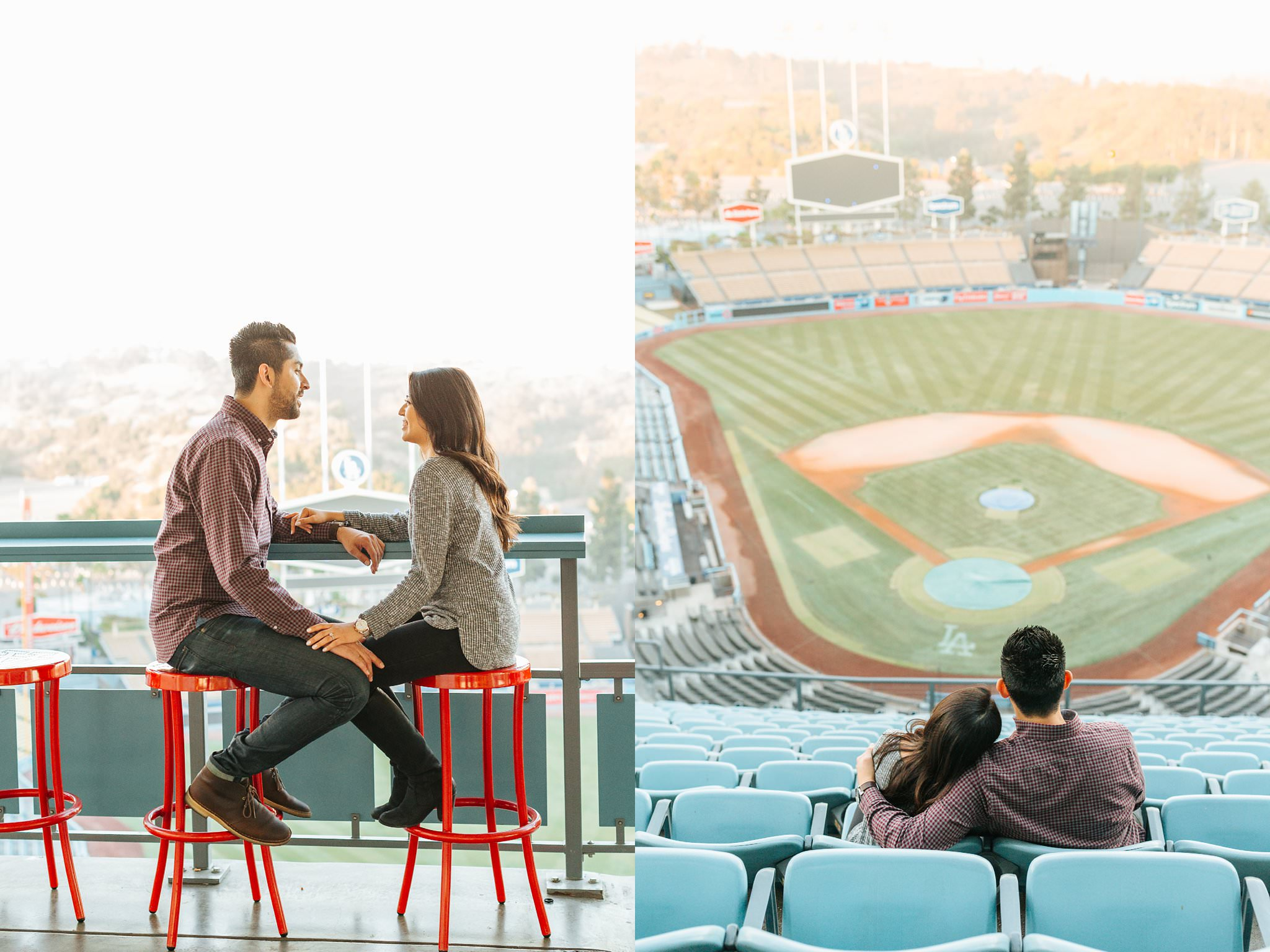 Love in the seats at Dodger Stadium - Los Angeles Engagement and Wedding Photographer - http://brittneyhannonphotography.com