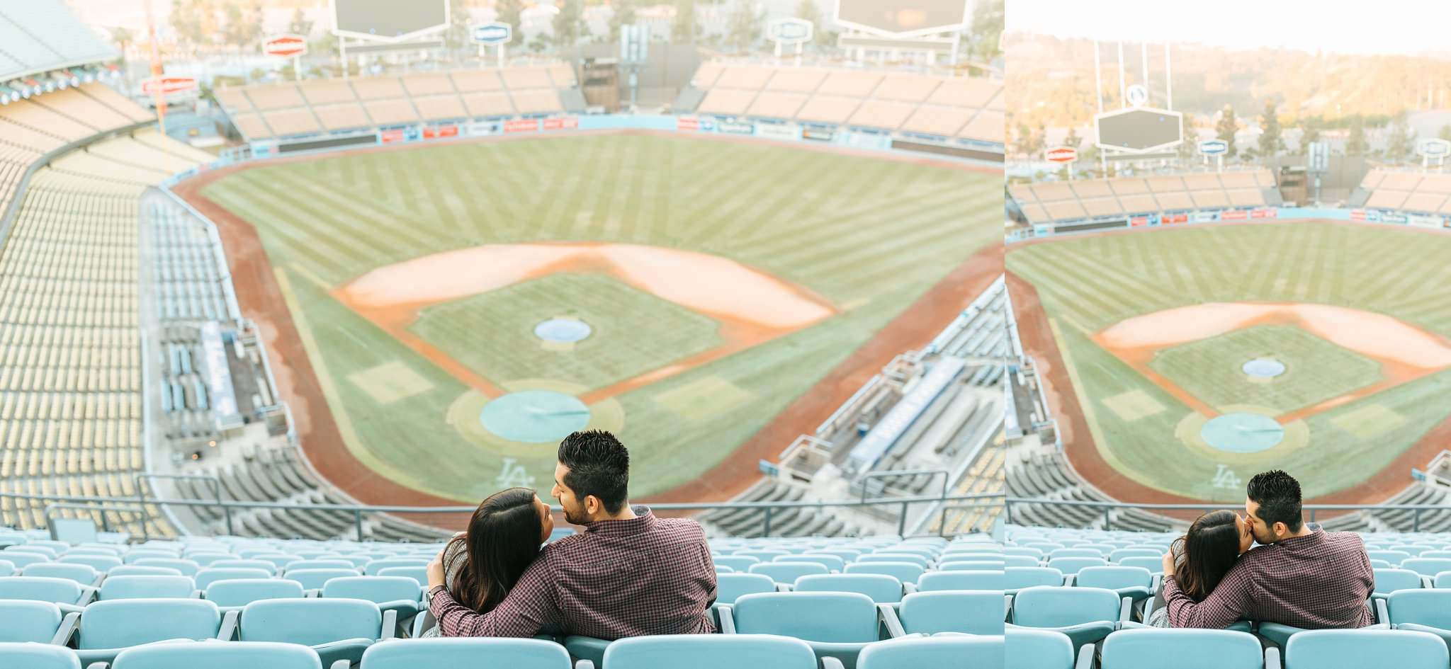 Dodger Stadium Engagement Session - Dodger Fans - Boys in Blue - http://brittneyhannonphotography.com