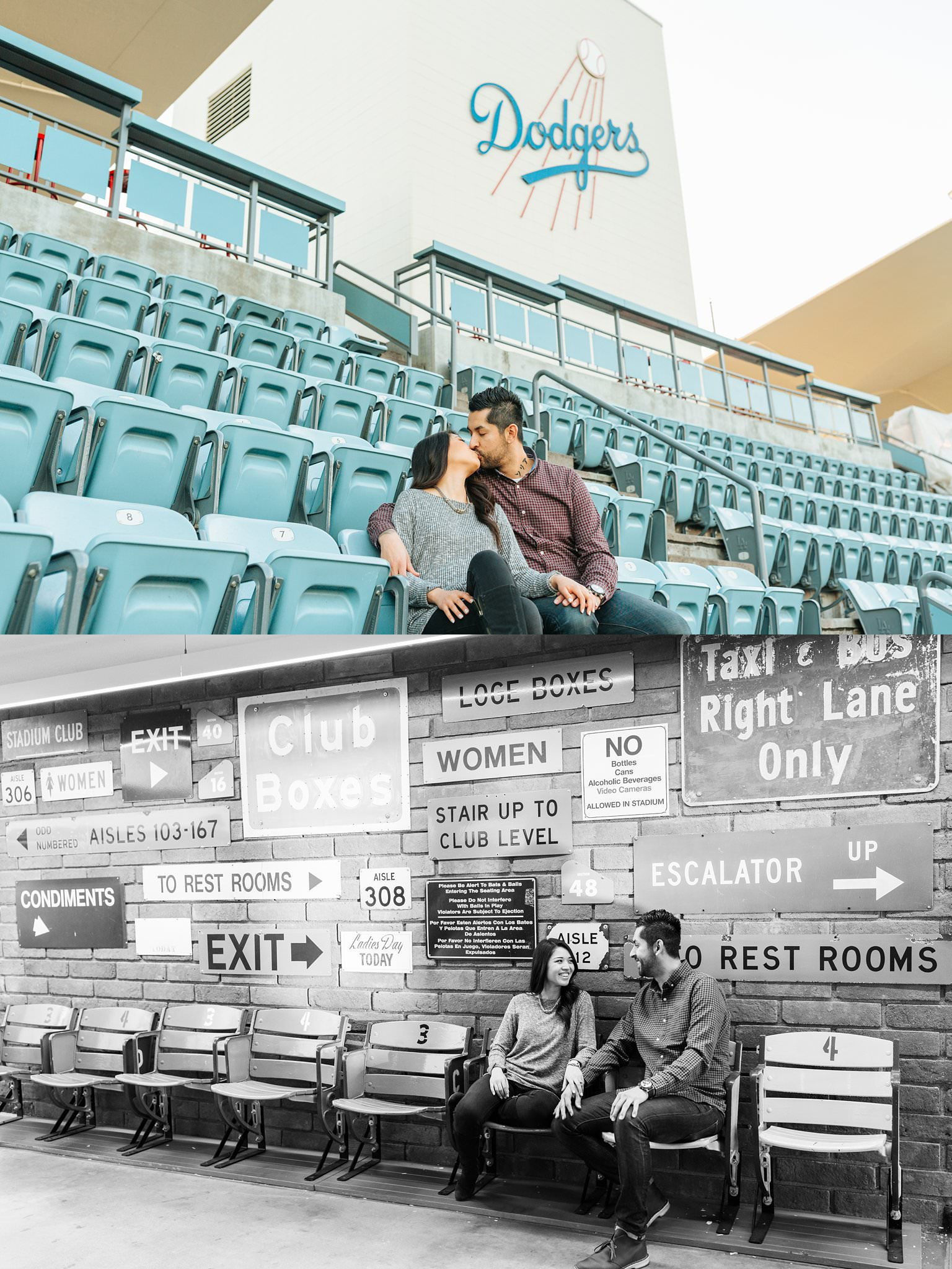 Engagement Photos at Dodger Stadium - http://brittneyhannonphotography.com
