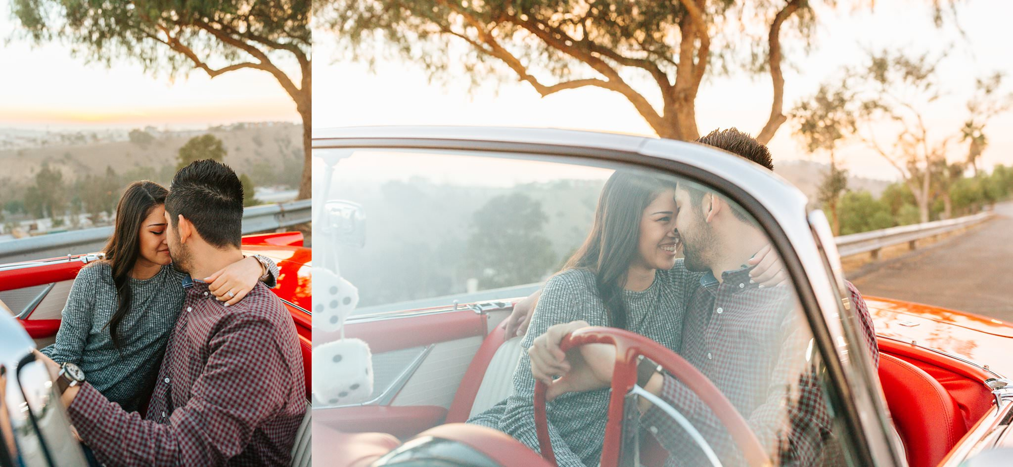 Classic car and LA Skyline Photos - Engagement Session in Los Angeles, CA - http://brittneyhannonphotography.com