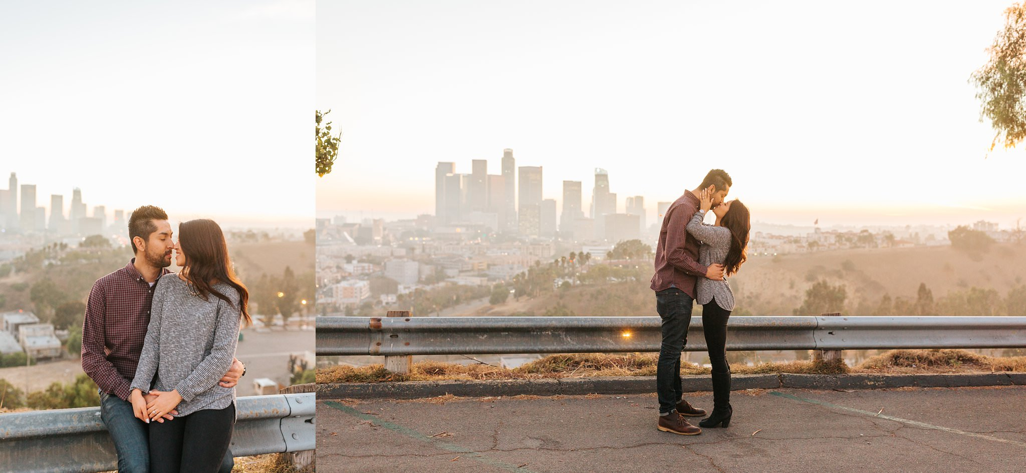 Los Angeles Engagement Session - LA Skyline - Skyline of Los Angeles - http://brittneyhannonphotography.com