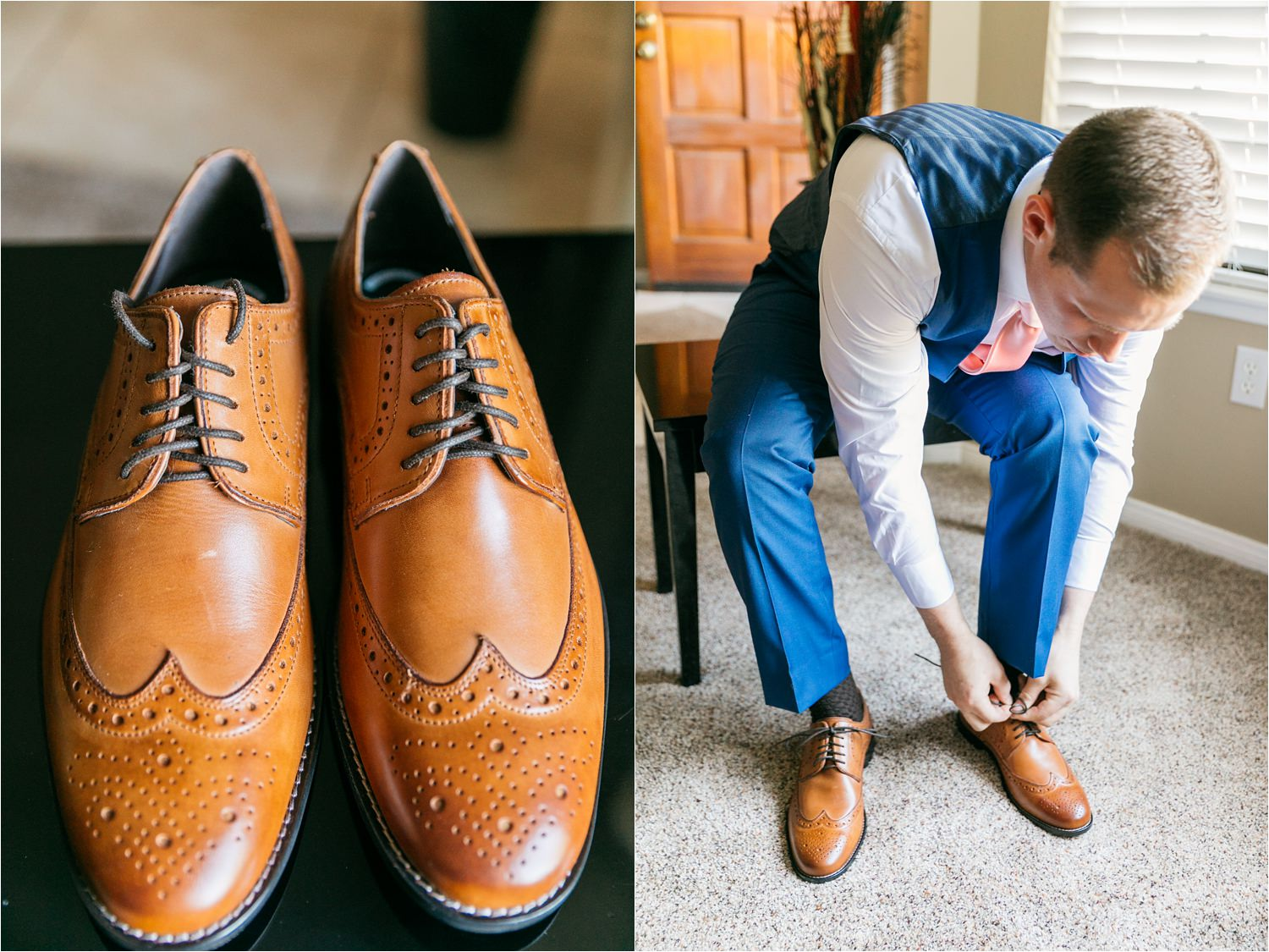 Groom putting on shoes - Chino Hills Wedding Photographer - https://brittneyhannonphotography.com