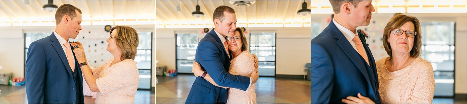Groom and Mom pinning boutonniere - https://brittneyhannonphotography.com