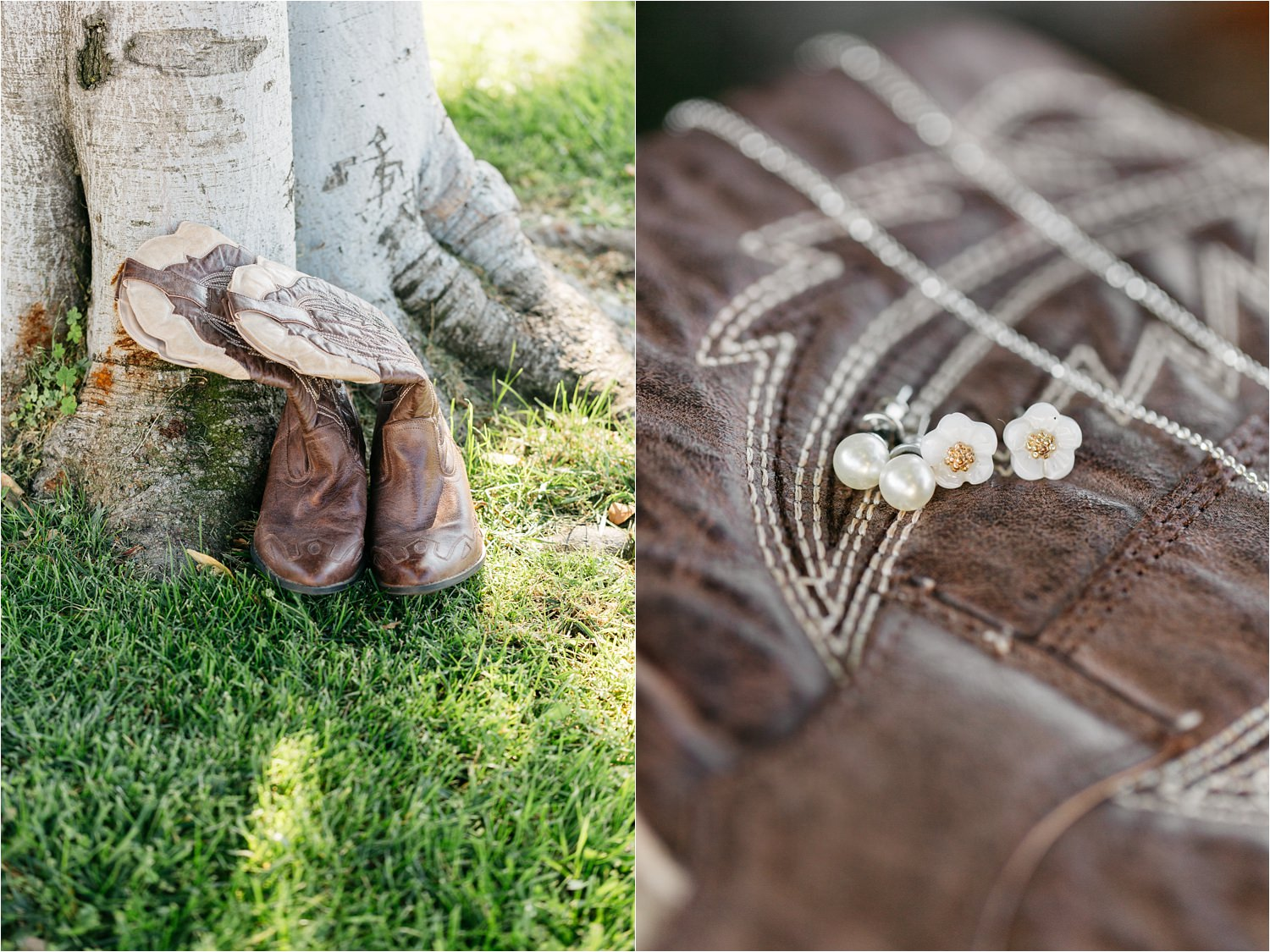 Bride's Cowboy boots and jewelry - rustic southern california wedding - https://brittneyhannonphotography.com