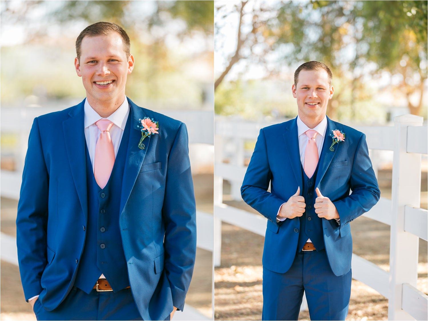 Groom in blue suit - https://brittneyhannonphotography.com