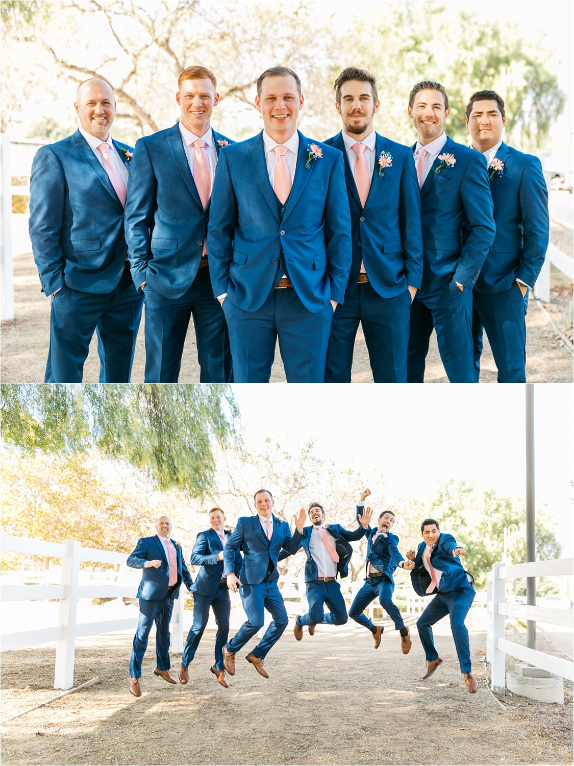 Groom and Groomsmen in blue suits - Groom and Groomsmen Photos - https://brittneyhannonphotography.com