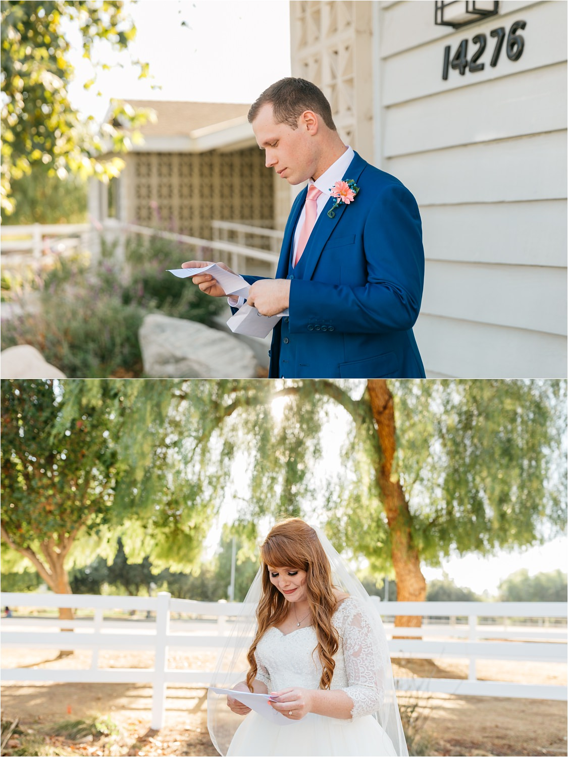 Bride and Groom reading each others love letters - https://brittneyhannonphotography.com