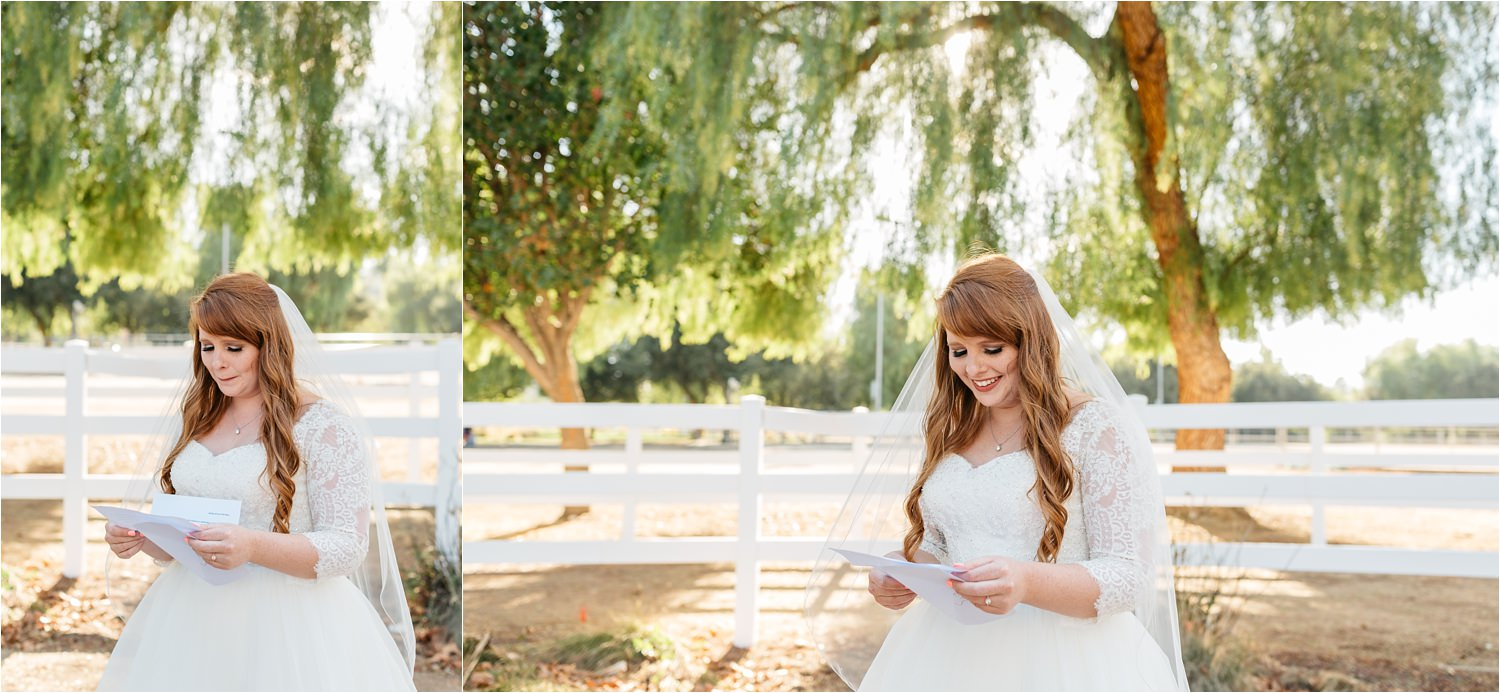 Bride reading a love letter from her groom before the wedding ceremony - Chino Hills Wedding Photographer - https://brittneyhannonphotography.com