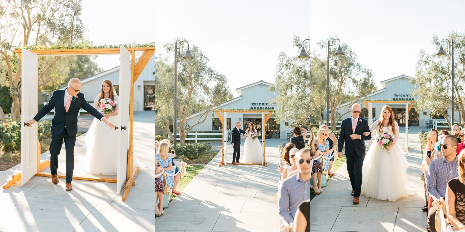 Bride walking down the aisle - McCoy Equestrian Center Wedding Ceremony - Chino Hills, CA Wedding Photographer - https://brittneyhannonphotography.com