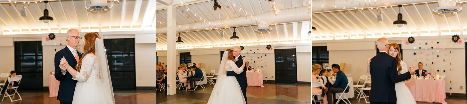 Bride dances with dad during Father Daughter dance - https://brittneyhannonphotography.com