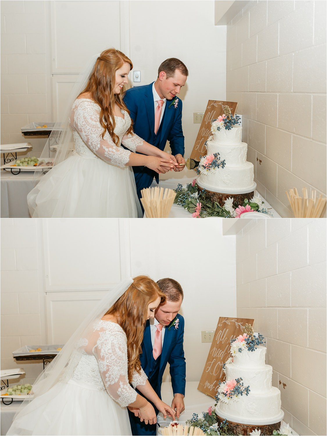 Bride and Groom cutting cake - https://brittneyhannonphotography.com