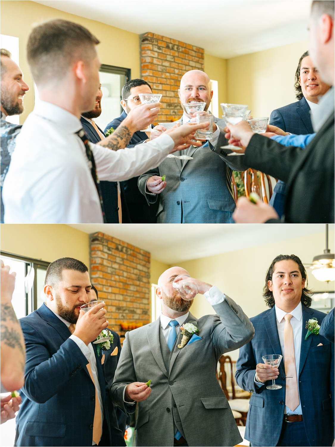 Celebratory drinks with the groom and groomsmen - https://brittneyhannonphotography.com