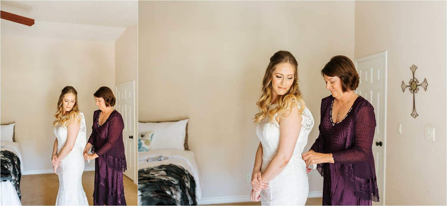 Bride getting into wedding dress - https://brittneyhannonphotography.com