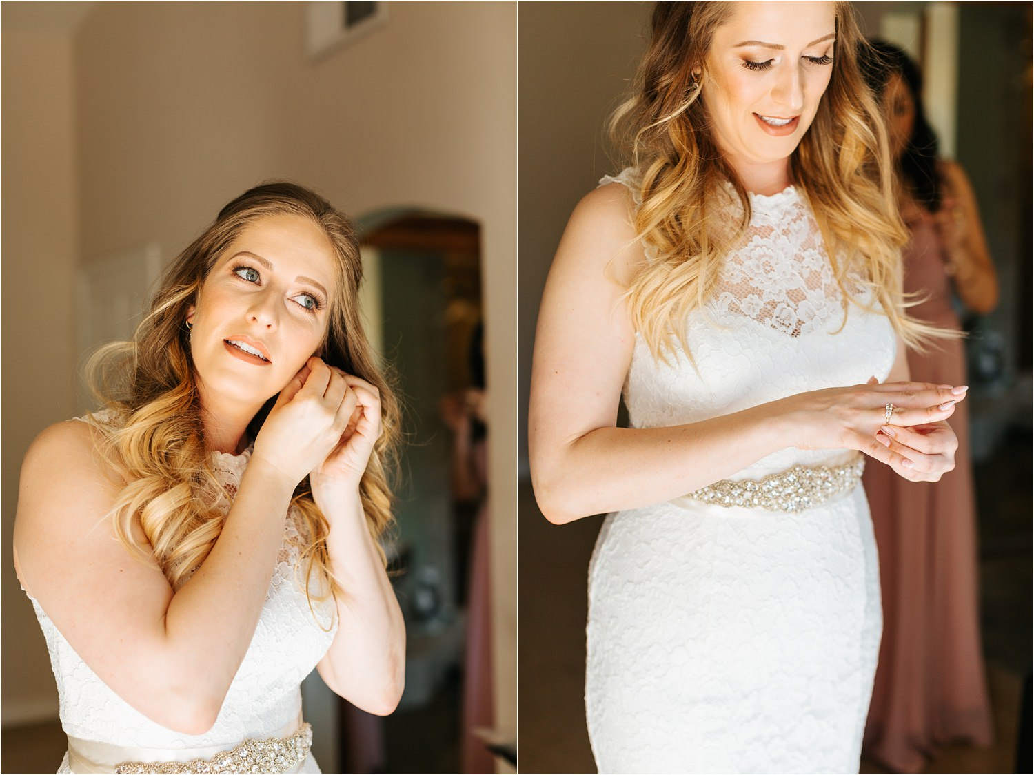 Bride putting on her wedding day jewelry - https://brittneyhannonphotography.com