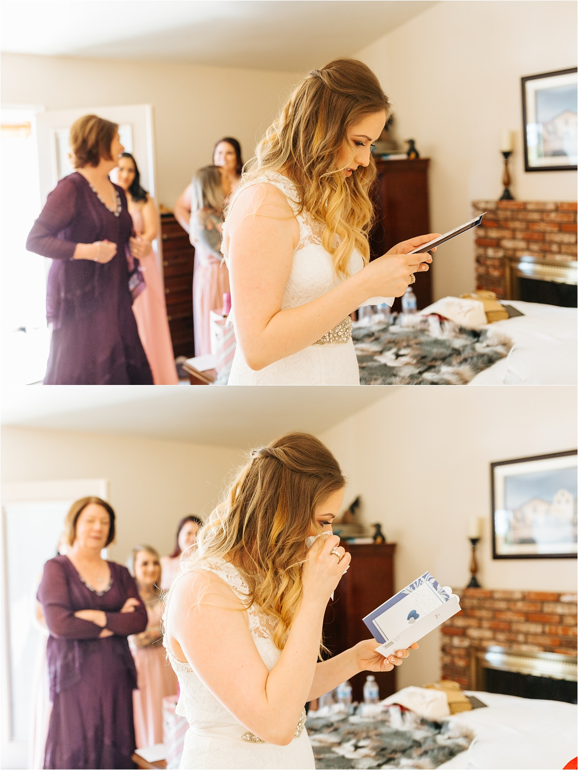 Bride reading a heartfelt card from her groom - https://brittneyhannonphotography.com