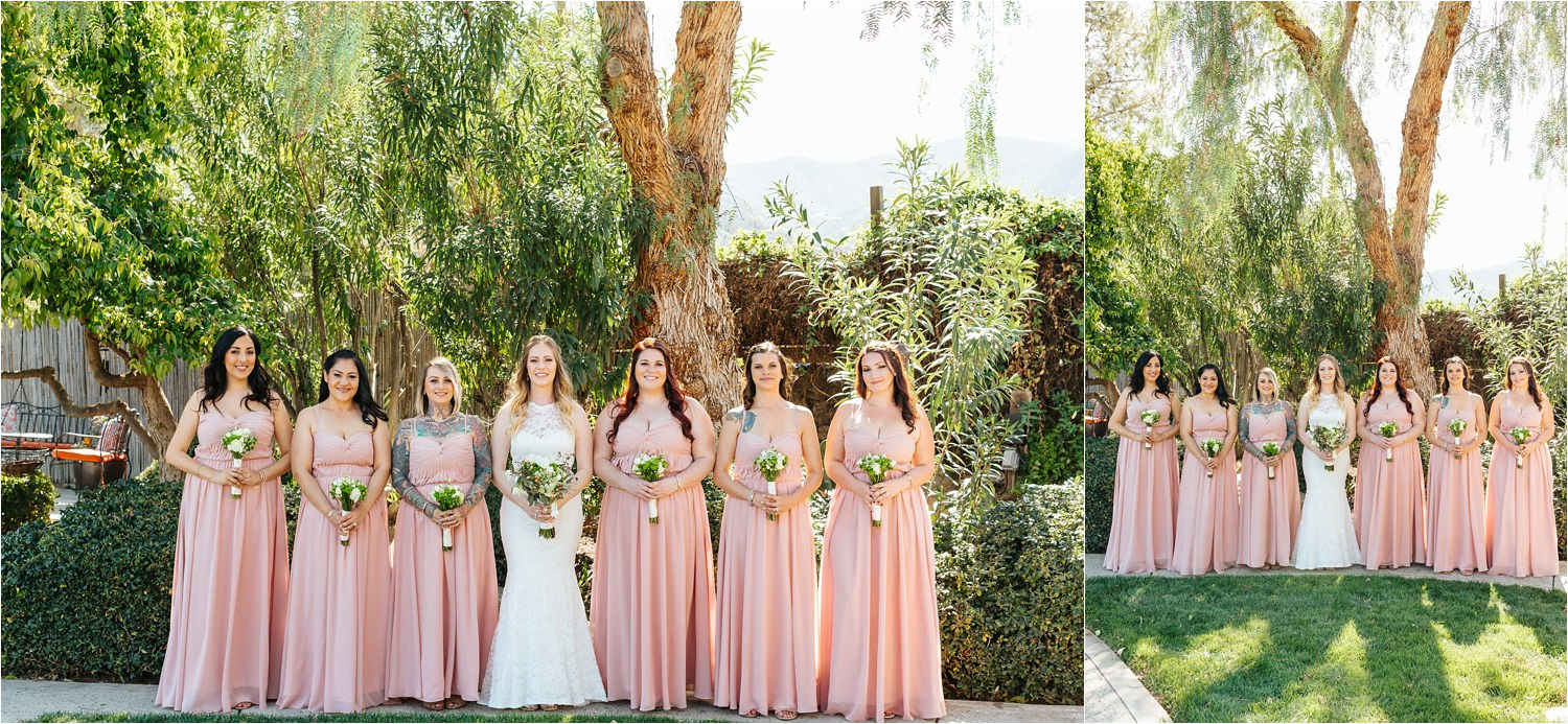 Pink Bridesmaids Dresses - Beautiful Bride and Bridesmaids Photos - https://brittneyhannonphotography.com