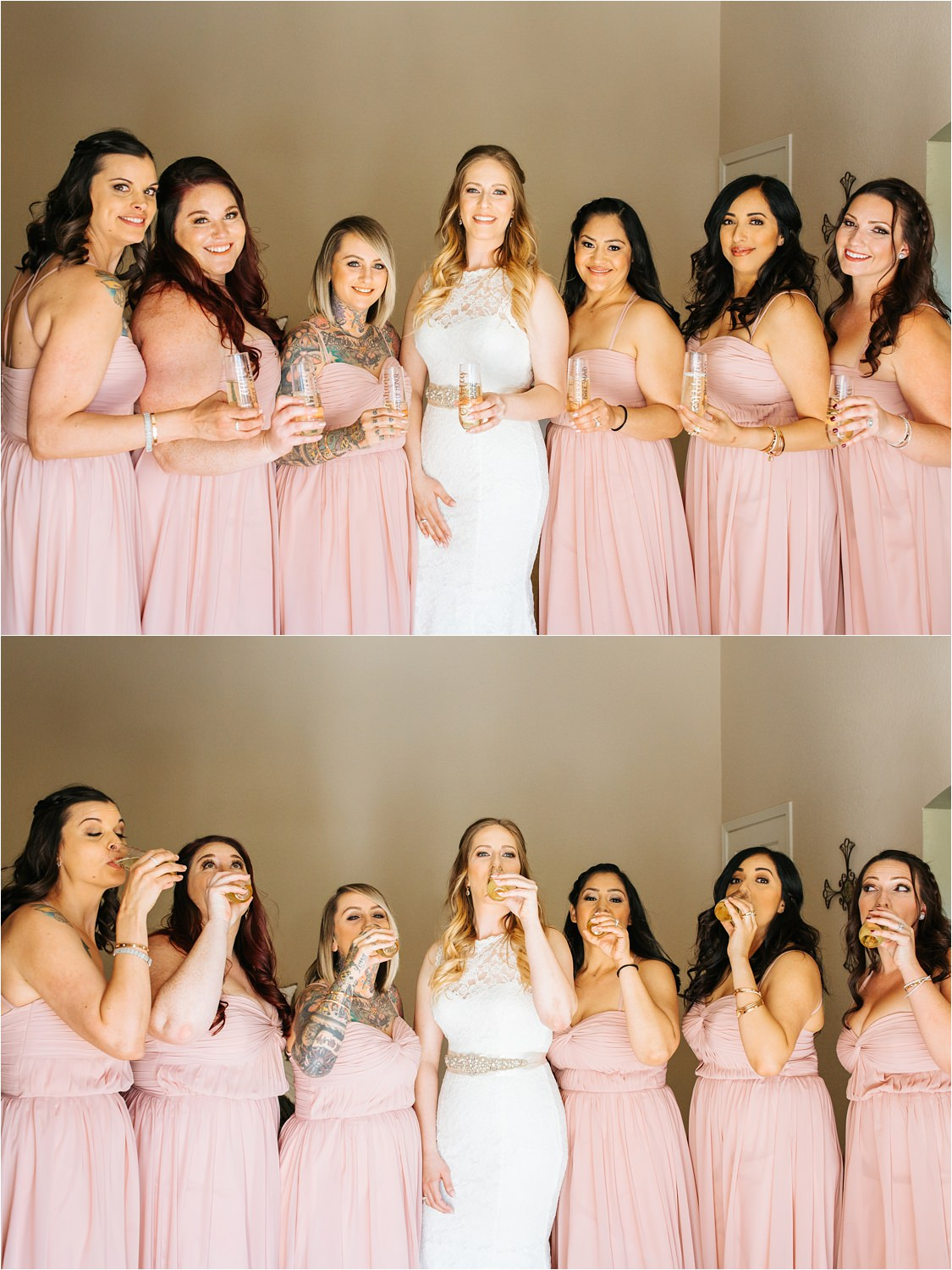 Celebratory drink with the bride and her bridesmaids - https://brittneyhannonphotography.com