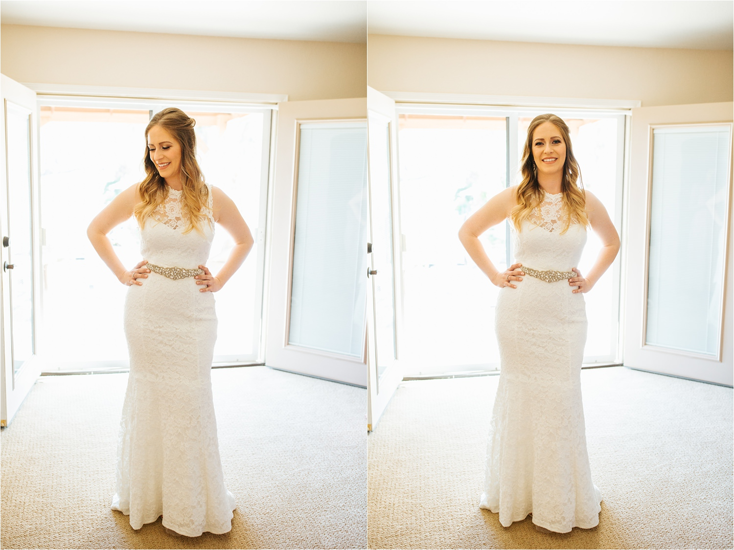 Bride about to walk down the aisle to marry her groom - https://brittneyhannonphotography.com