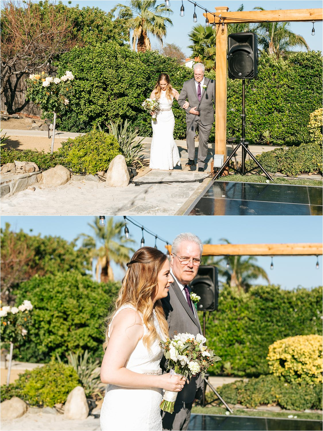 Backyard Wedding Ceremony - Bride walking down the aisle with her dad - https://brittneyhannonphotography.com