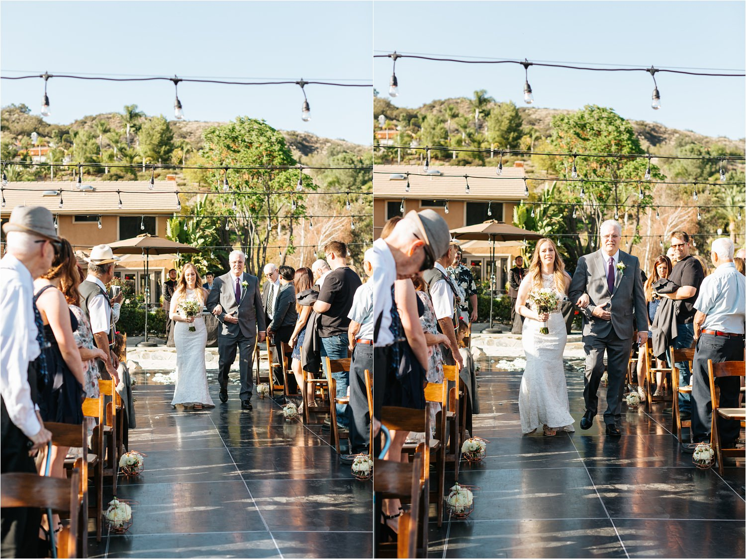 Elegant Backyard Wedding Ceremony - Bride Walking down the aisle - https://brittneyhannonphotography.com