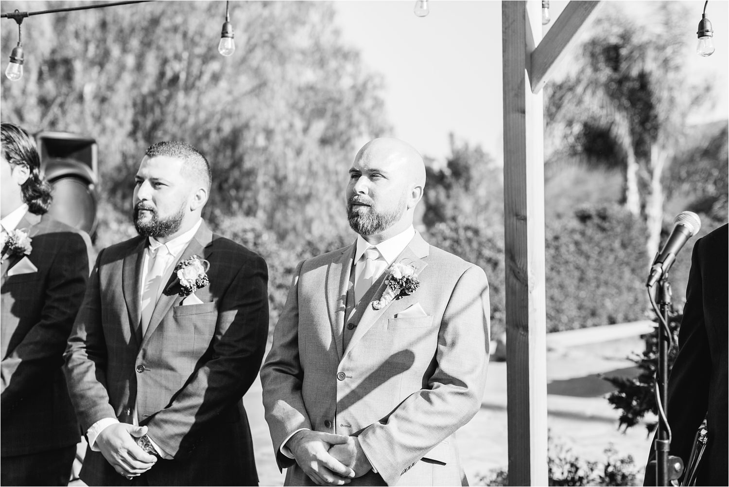 Groom watches bride walk down the aisle - https://brittneyhannonphotography.com