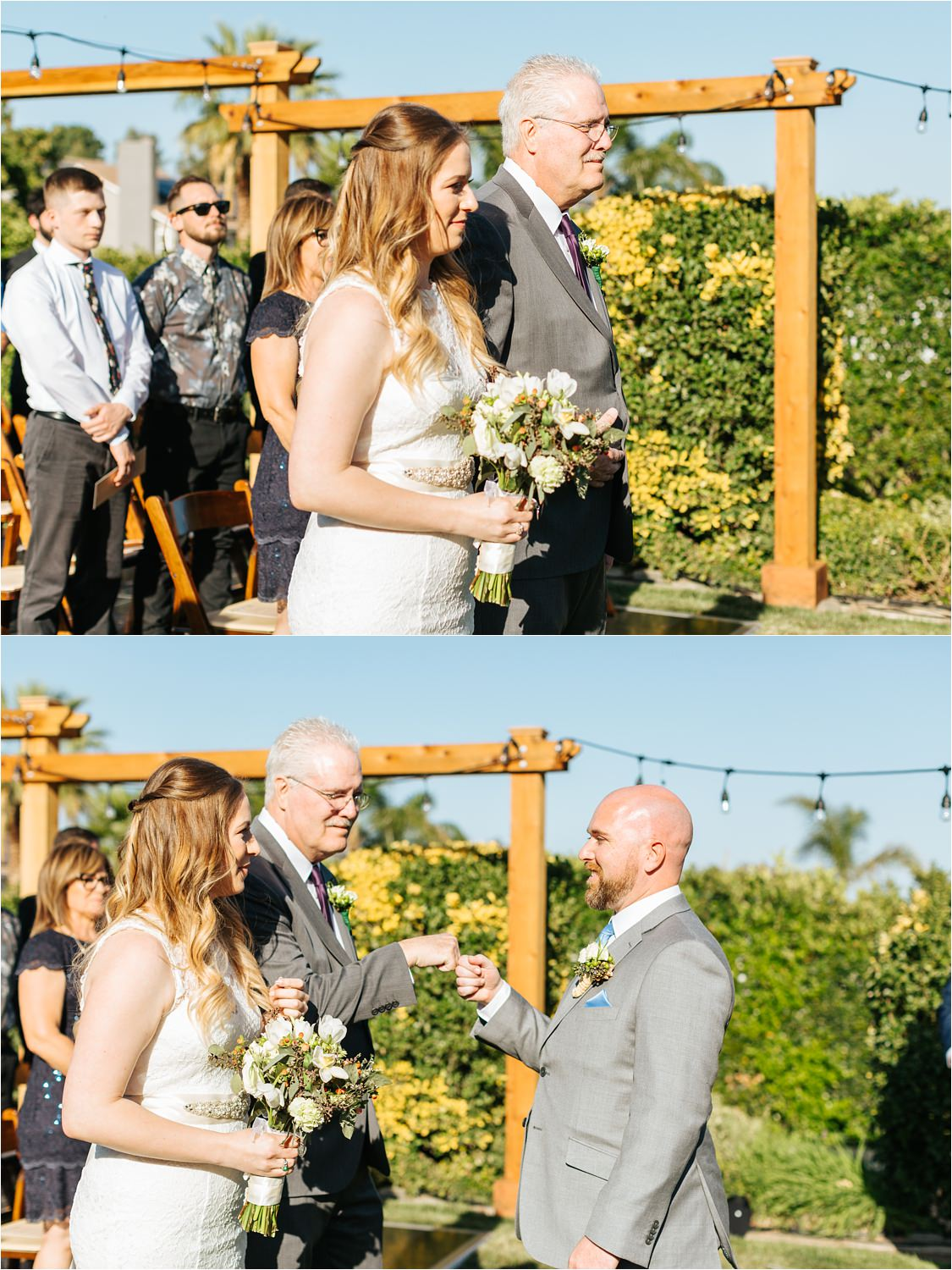 Dad gives daughter away with a fist bump to the groom - https://brittneyhannonphotography.com