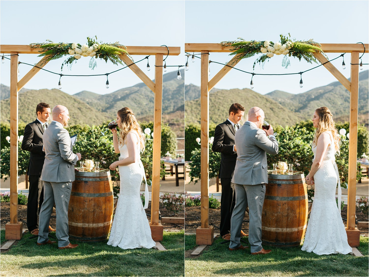 Bride and Groom share wine during their wedding ceremony - https://brittneyhannonphotography.com