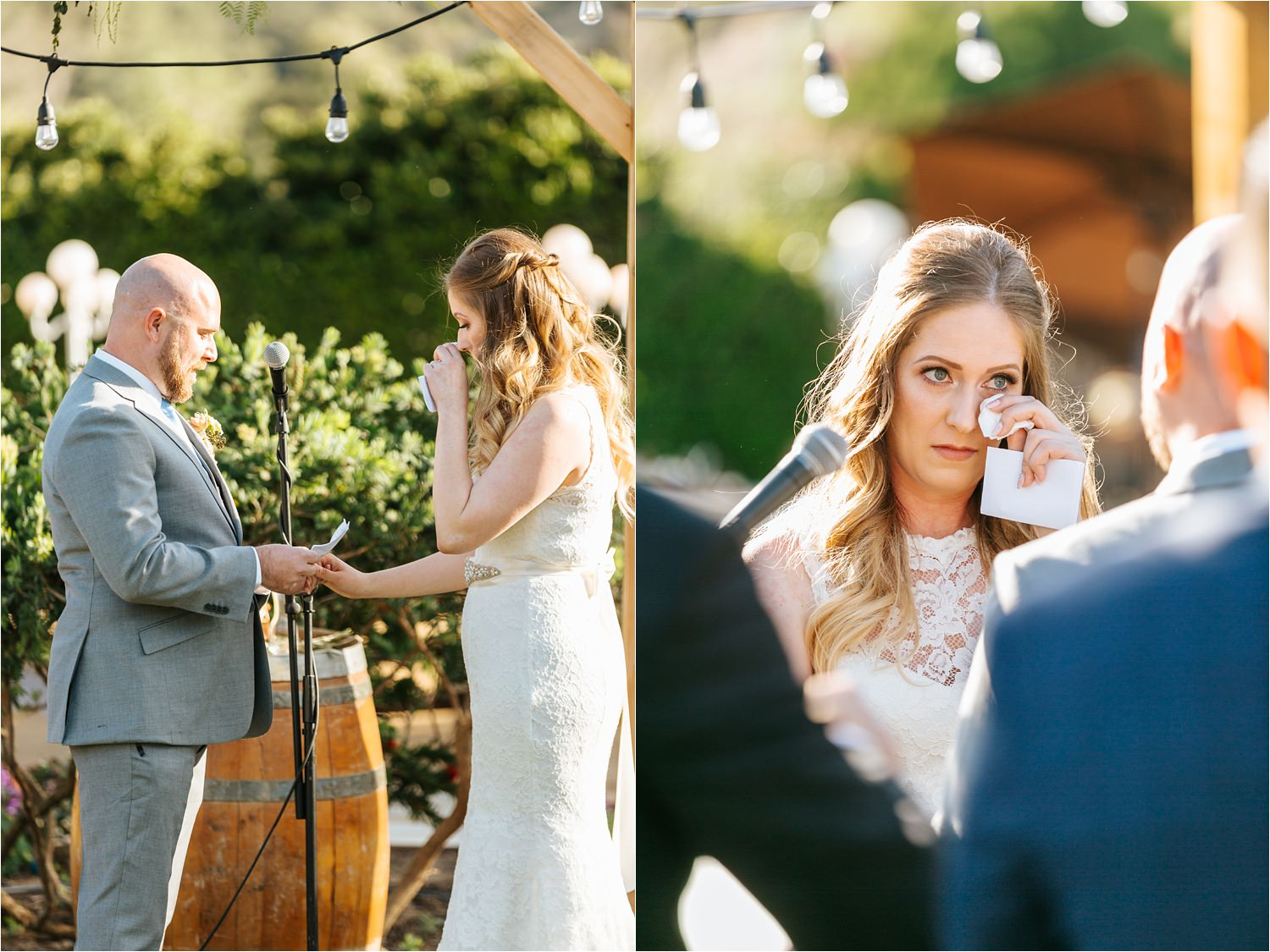 Sweet and emotional vows during wedding ceremony - https://brittneyhannonphotography.com