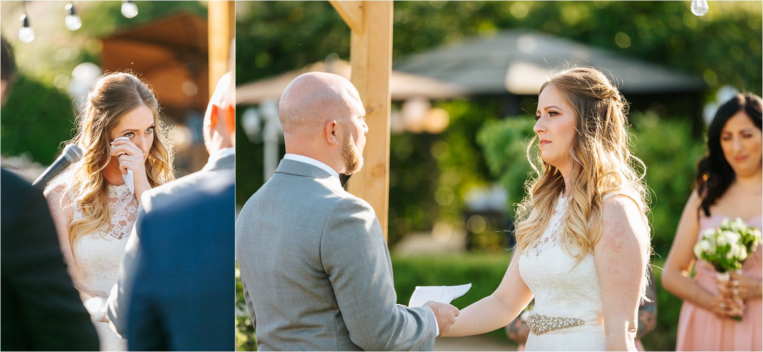 Elegant backyard wedding - emotional vows between bride and groom - https://brittneyhannonphotography.com