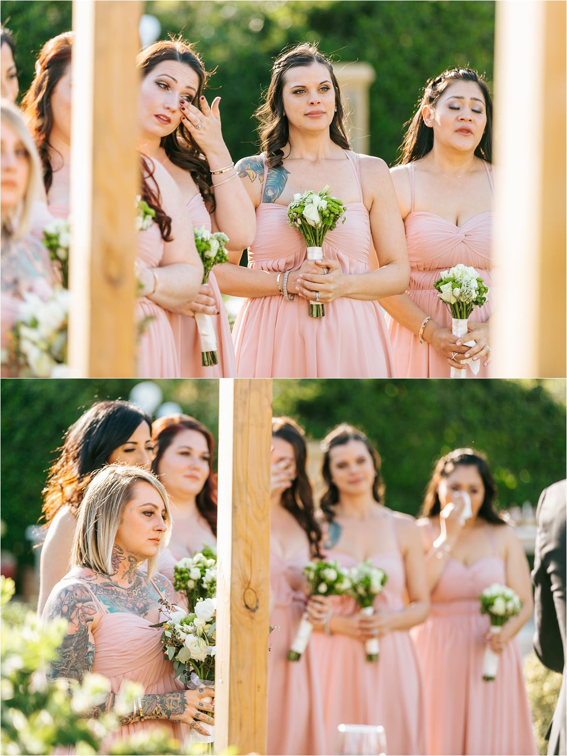 Emotional bridesmaids watching the bride and groom exchange vows - https://brittneyhannonphotography.com