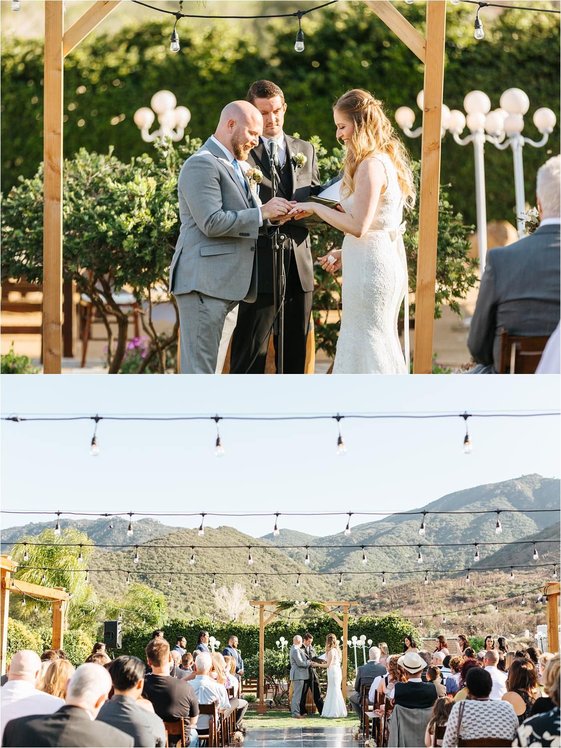 Bride and Groom exchange wedding bands during wedding ceremony - Lake Elsinore Wedding - https://brittneyhannonphotography.com