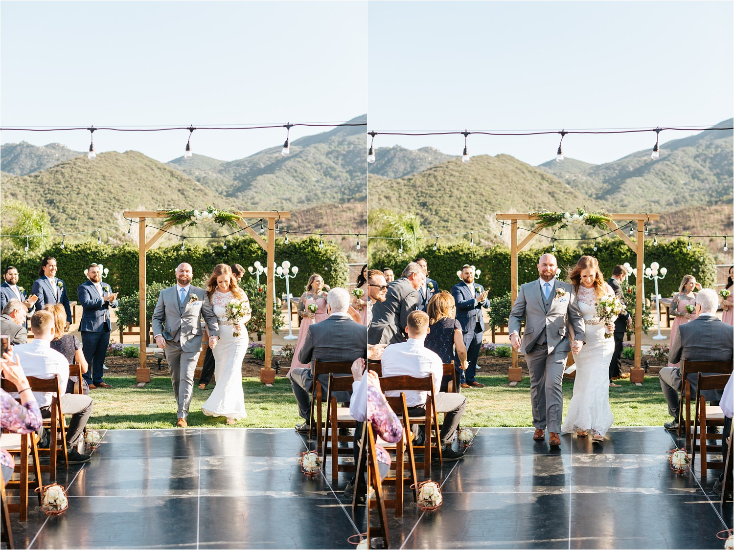 Bride and Groom walk down the aisle after wedding ceremony - https://brittneyhannonphotography.com