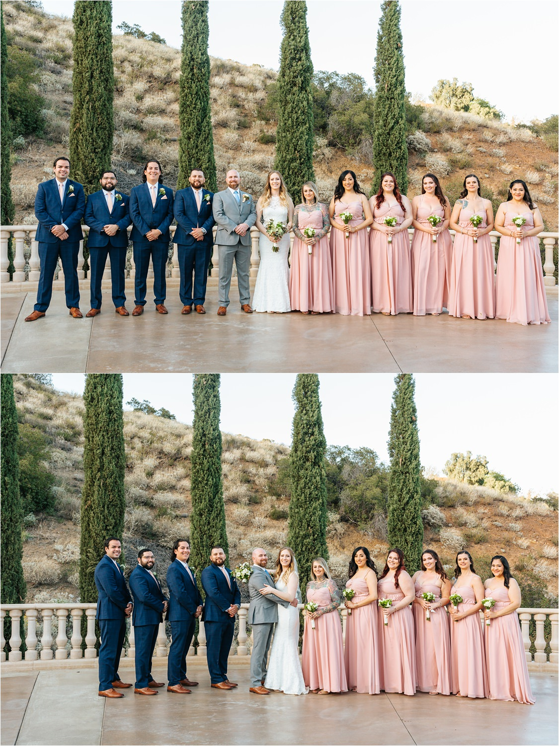 Grey and Pink Wedding Colors - Wedding Party Photos - https://brittneyhannonphotography.com