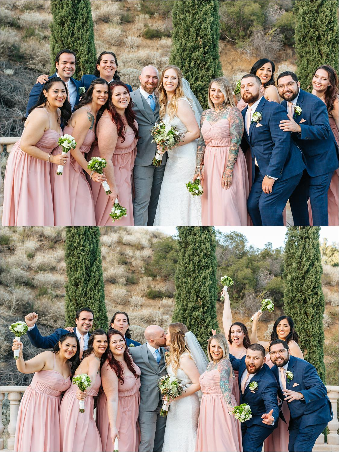 Super cute wedding party photo with the bride and groom - https://brittneyhannonphotography.com