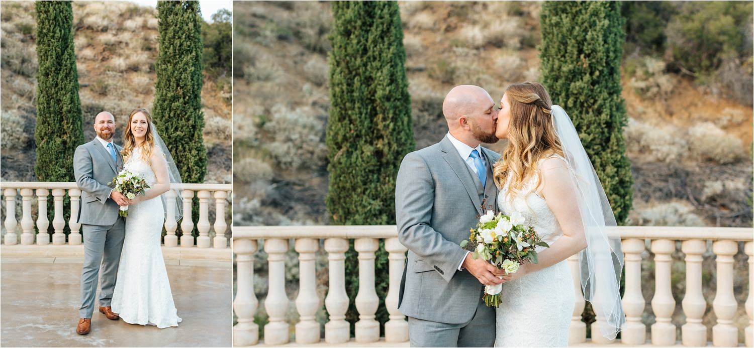 Romantic Bride and Groom Photos - Dreamy Backyard Wedding in Southern California - https://brittneyhannonphotography.com