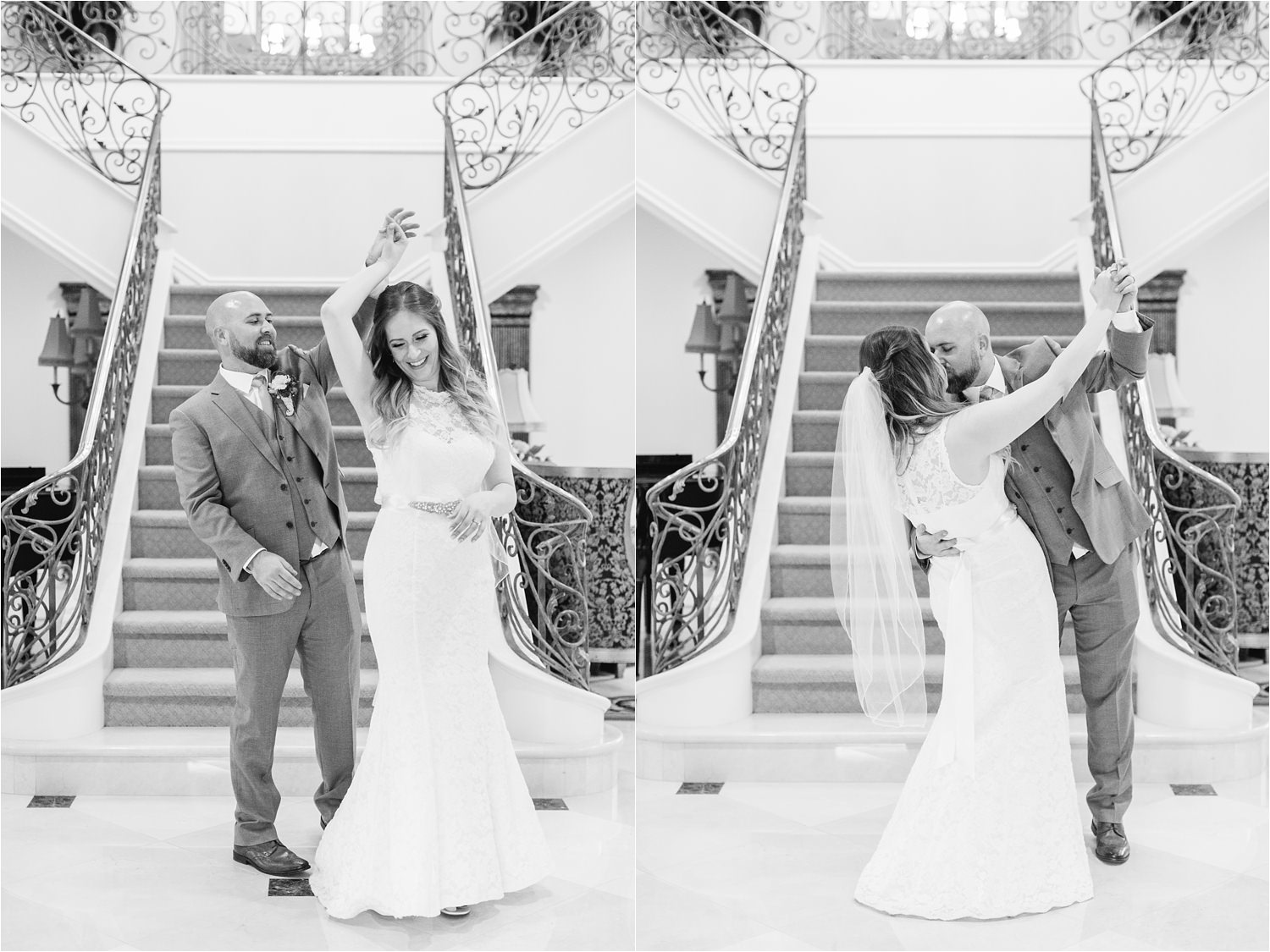Dancing in a mansion - black and white bride and groom pictures - https://brittneyhannonphotography.com
