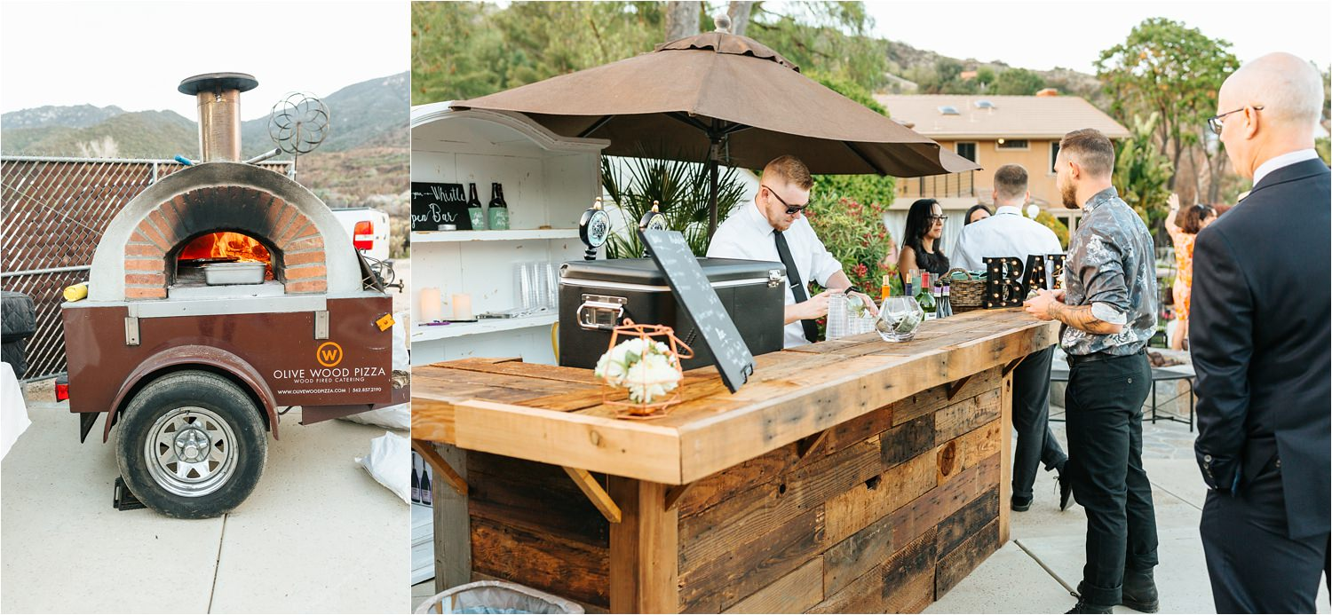 Bar and Stone Fire Pizza Grill at this backyard wedding - https://brittneyhannonphotography.com