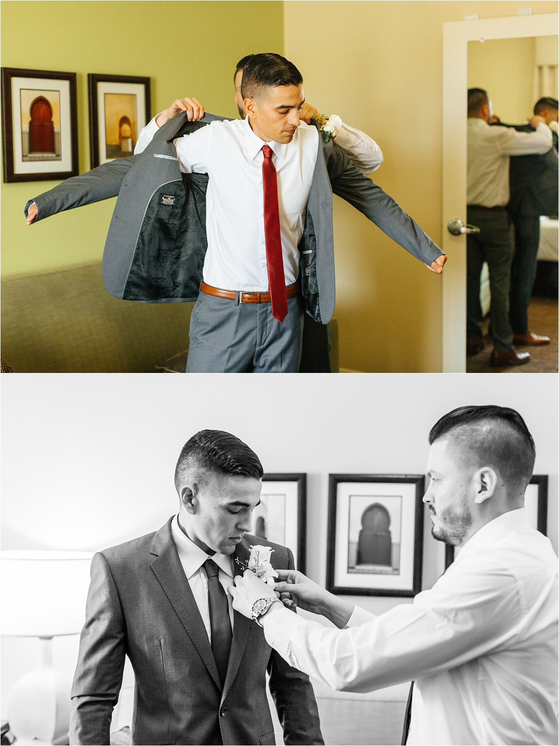 Groom's brother helping him get ready for his wedding - https://brittneyhannonphotography.com