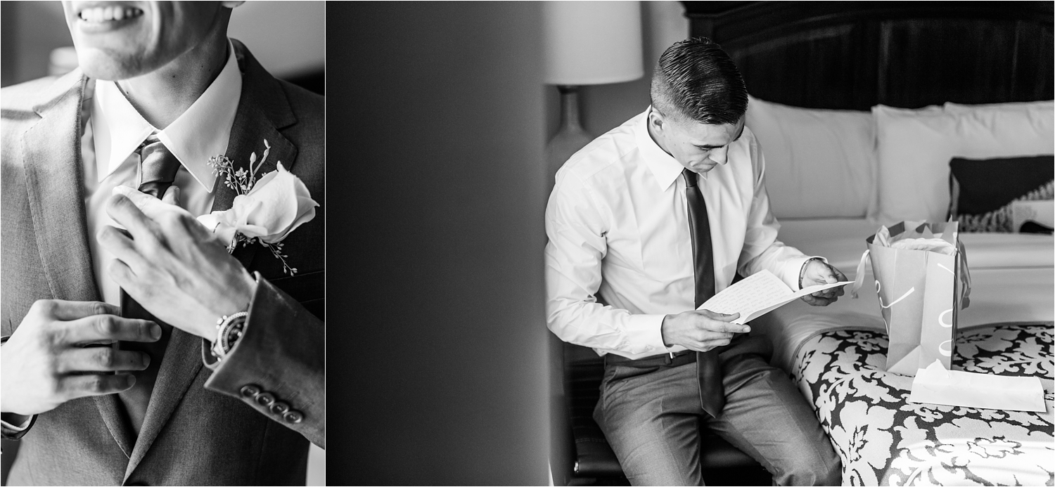 Black and White wedding photography of the groom - https://brittneyhannonphotography.com