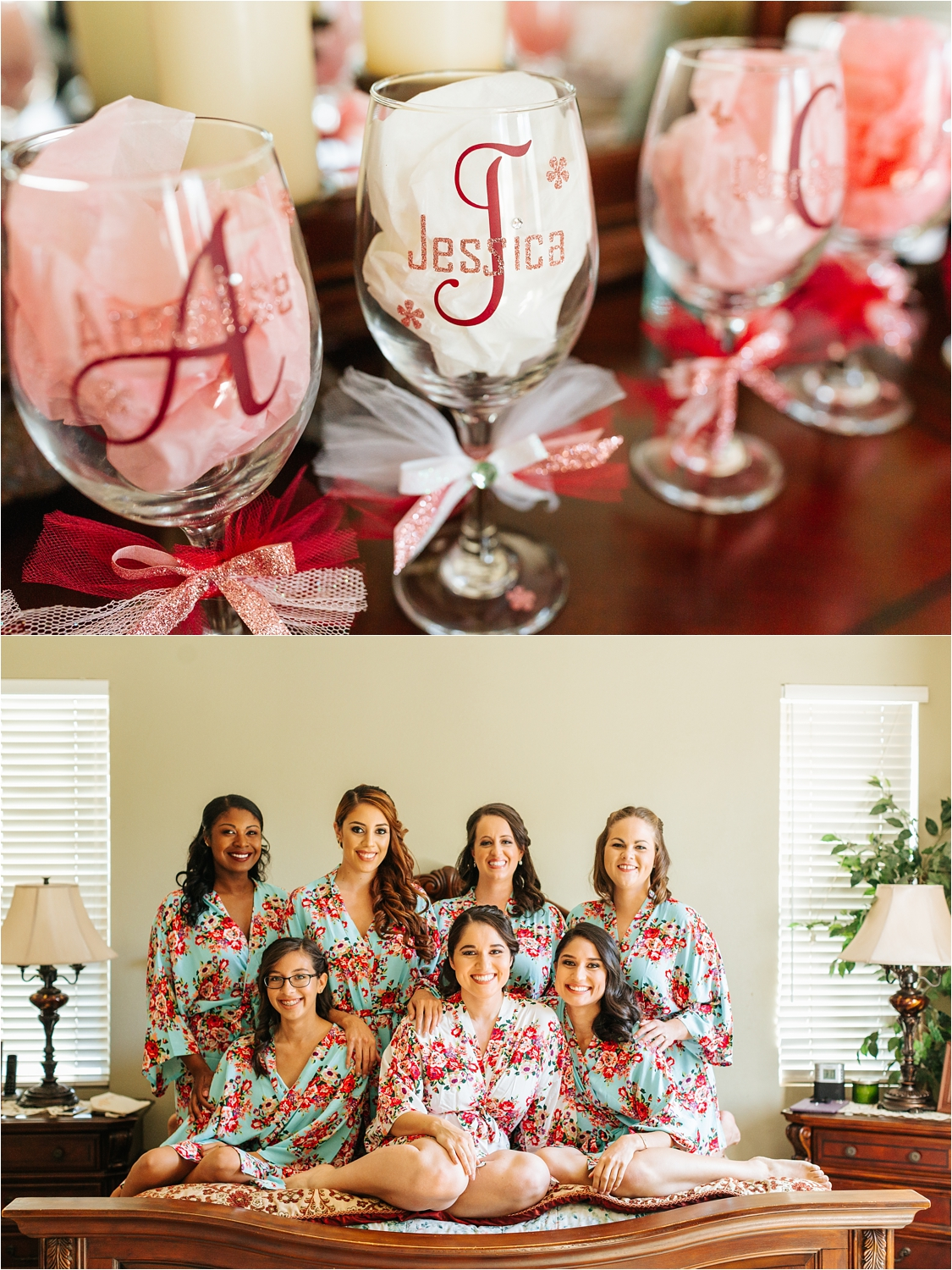Bride and Bridesmaids Photo on bed - https://brittneyhannonphotography.com