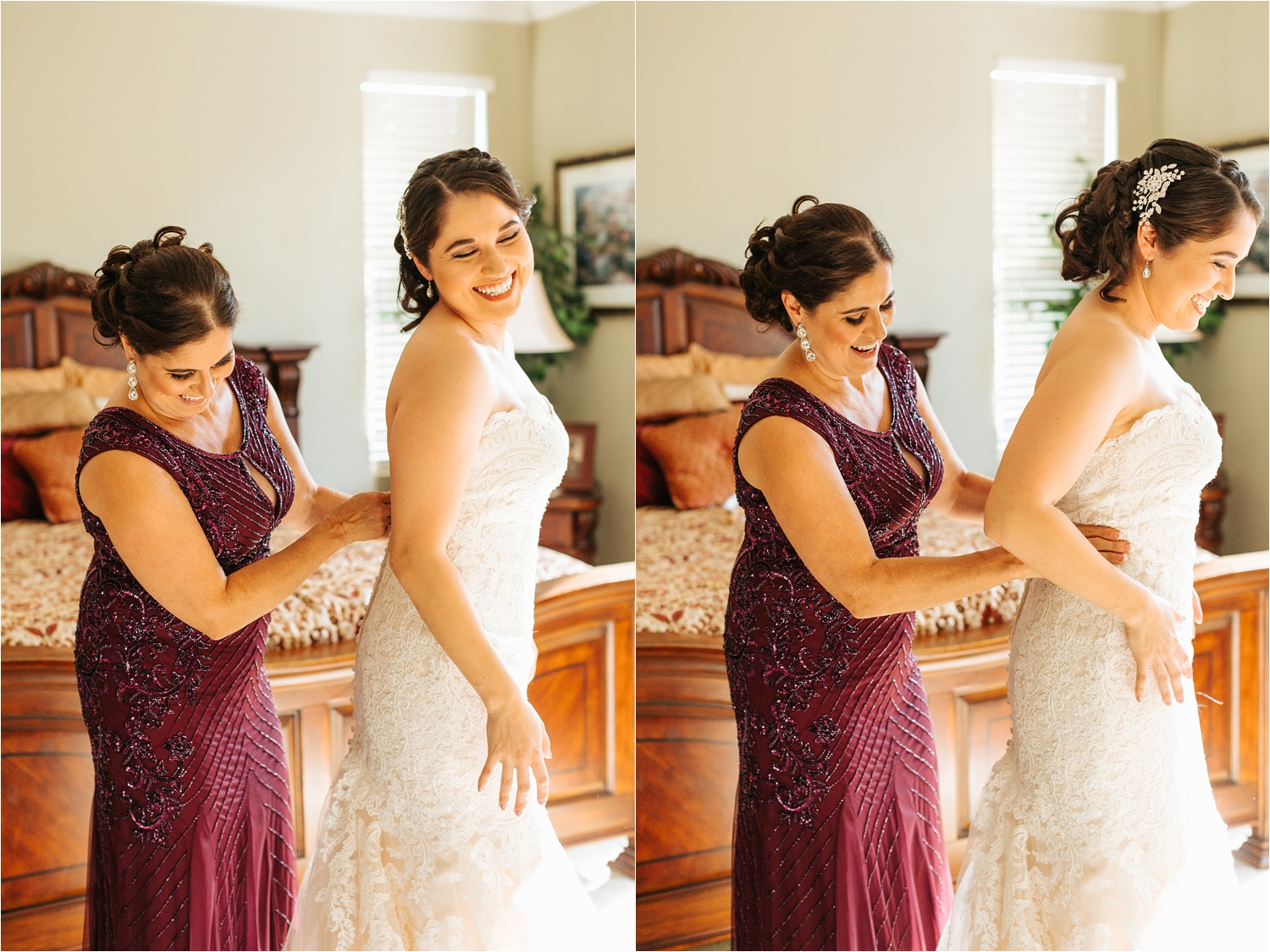 Mom helping Bride into wedding dress - https://brittneyhannonphotography.com