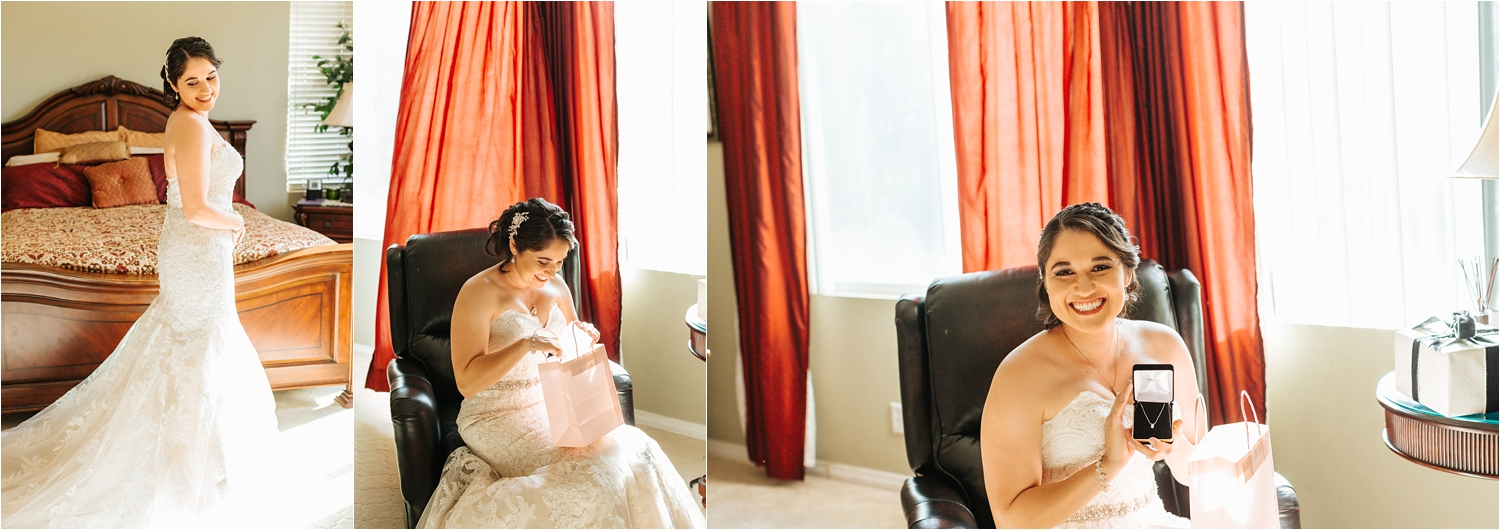 Bride opening gift from groom - https://brittneyhannonphotography.com